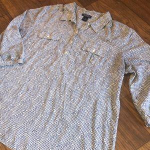 COPY - Lucky Brand Blue & White Henley Blouse